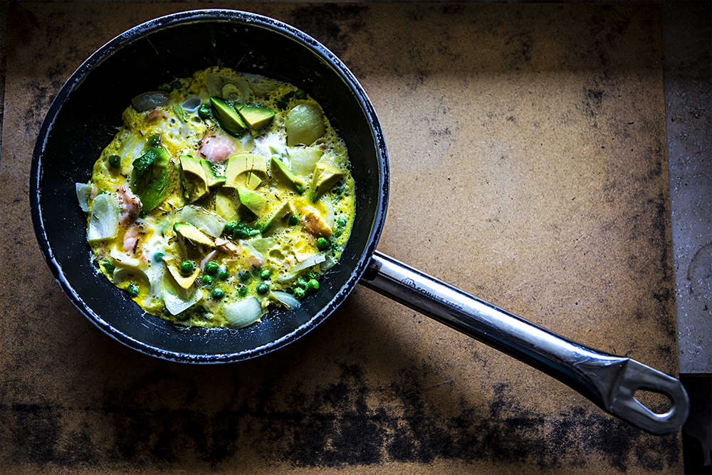 pea, avocado and salmon omelette. High protein